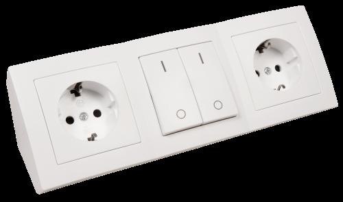 Steckdosenblock Aufbau Weiß 2x Schutzkontakt - 2x Schalter günstig online kaufen