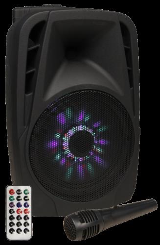Mobile Beschallungsanlage Karaoke Trolley LED 300W SD/USB Bluetooth AKKU
