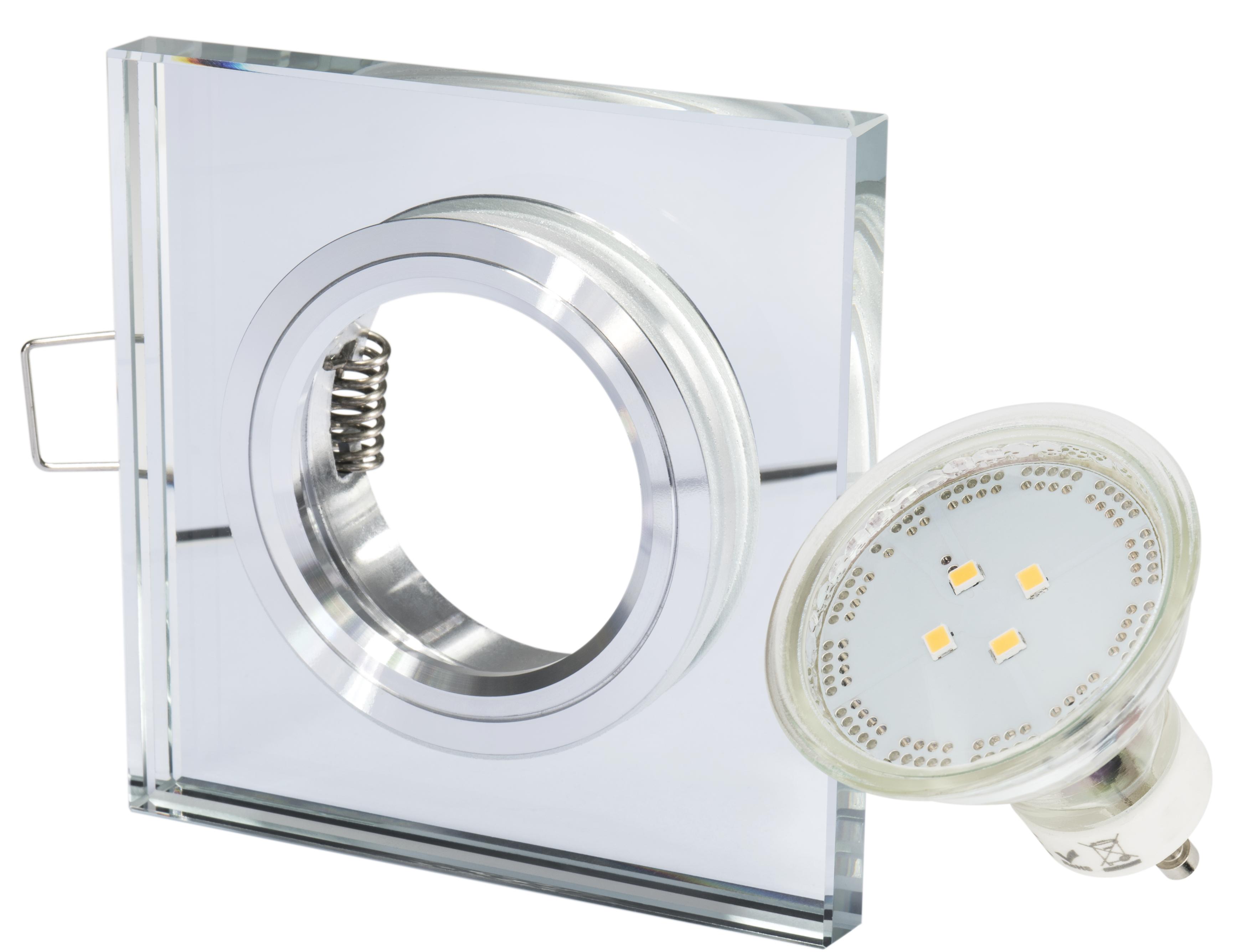 10 x GU10 Fassung 230 Volt glänzend inkl 10 x Einbaustrahler Set Chrom