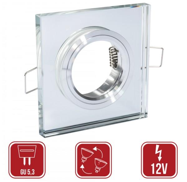 LED Einbaustrahler Elisa Chrom GU5,3 12Volt Quadratisch Glas