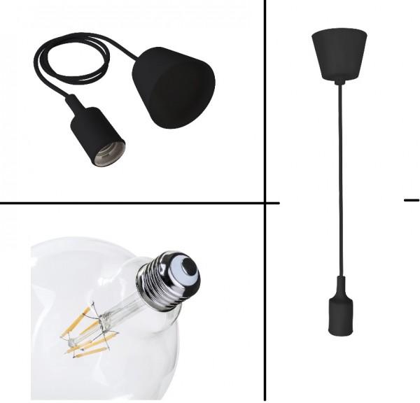 8Watt Hängelampe SCHWARZ E27 Filament LED